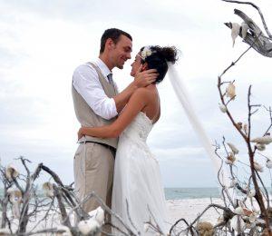 Lovers Key Beach Wedding Kiss